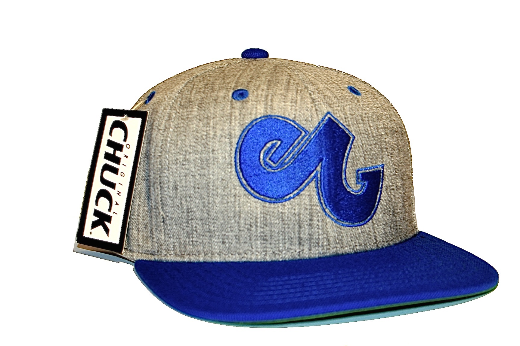 8daab8ab29c46 Blue   Grey Embroidered E Logo Snapback - Enabled Clothing